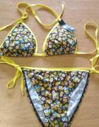 Nowy dwuczęsiowy strój kąpielowy bikini brązowy w kwiatki 42 XL