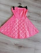Sukienka morelowa różowa rokloszowana Desperado S odkryte plecy...