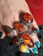 stare srebrne pierścionki bursztyn
