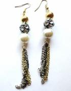 długie wiszące kolczyki perełki cyrkonie łańcuszki