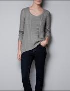 Zara Asymetryczny Sweter Warkoczowy Splot