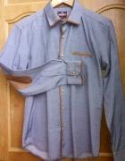 koszula męska grafitowa z zamszowymi wykonczeniami L