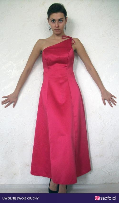 3806390eb21f8 Różowa suknia długa na jedno ramię S błyszcząca USA Studniówka w ...