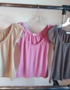 bluzka zestaw bluzek 3 sztuki beżowa różowa r S H&M zara chanel versace