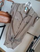 koszula beżowa mgiełka military r S H&M zara