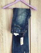 Spodnie jeansy przetarcia dziury 34 36 rurki