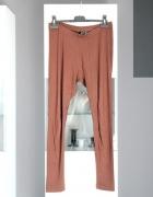 legginsy brązowe brąz elastyczne basic basicowe klasyczne wysok...