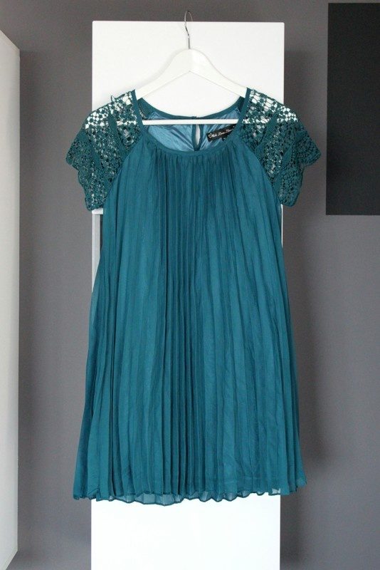 d61c2f3fba Suknie i sukienki sukienka elegancka zwiewna luźna wesele weselna trapezowa  worek turkus turkusowa koronka ażur