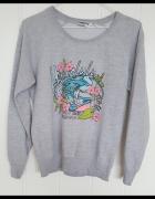 Szara bluza z nadrukiem New Look S 36 164 170 bawełna lato plaż...