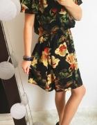 Czarna Sukienka Damska w kwiaty Hiszpanka M