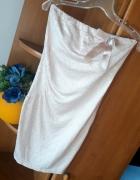 sukienka mini tuba beżowa cekiny r uniwresalny XS S M...