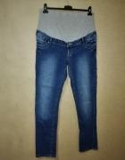 Ciążowe elastyczne jeansy rurki z bawełnianym panelem 42 44