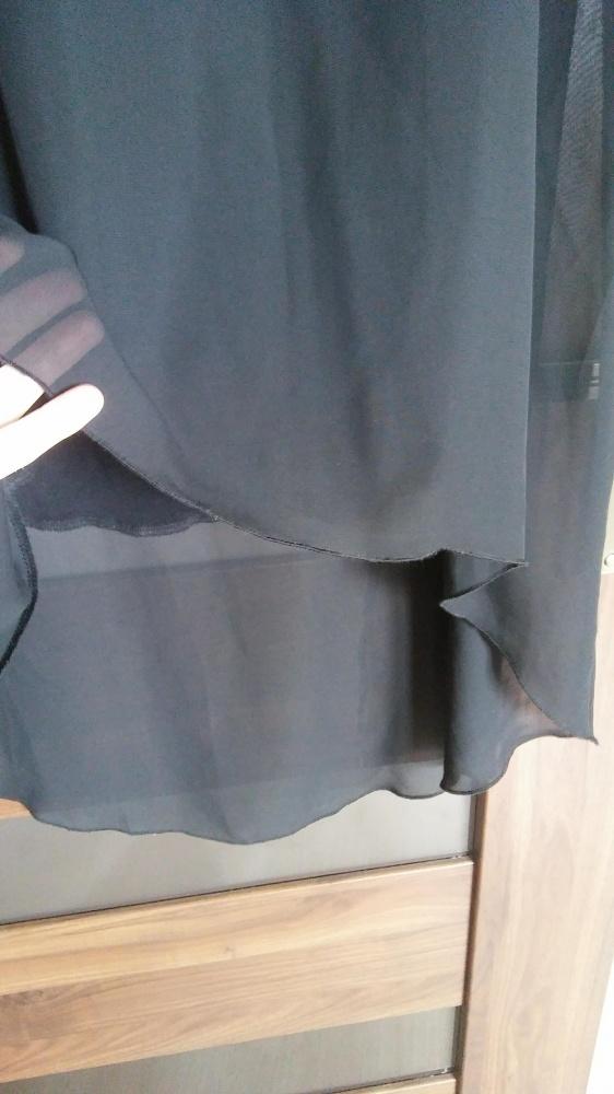 Czarna zwiewna asymetryczna sukienka szyfon 38