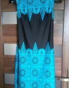 czarna sukienka w niebieskie azteckie wzory elegancka 36