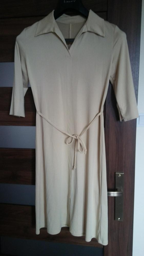 beżowa sukienka prosta elegancka 36