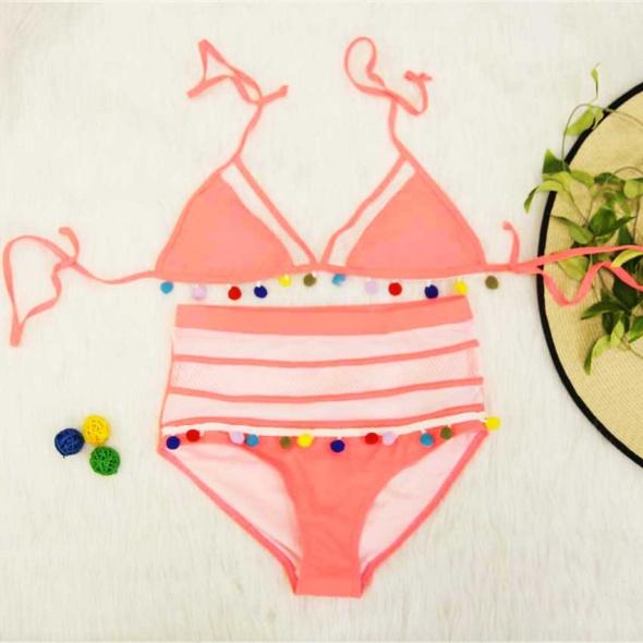 Strój kąpielowy pąponiki pompony brzoskwiniowy 36 S nowy