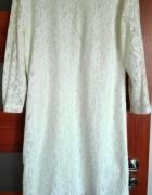 Biała sukienka koronkow XL