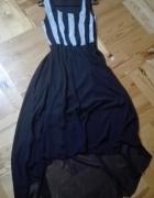 Asymetryczna zwiewna czarna sukienka 36 38