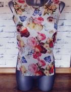 Koszulka mgiełka top floral 36 s kwiaty...