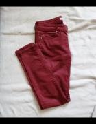 Burgundowe spodnie Bershka