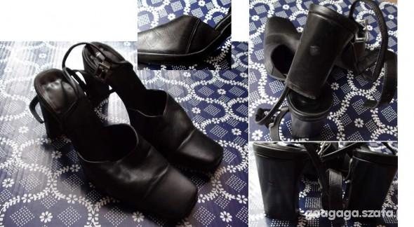 Czarne buty na obcasie 35 Skóra...