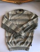 Sweter paski szary biały S Paul Smith