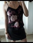 Bluzka kwiaty koronka na ramiączkach elegancka M