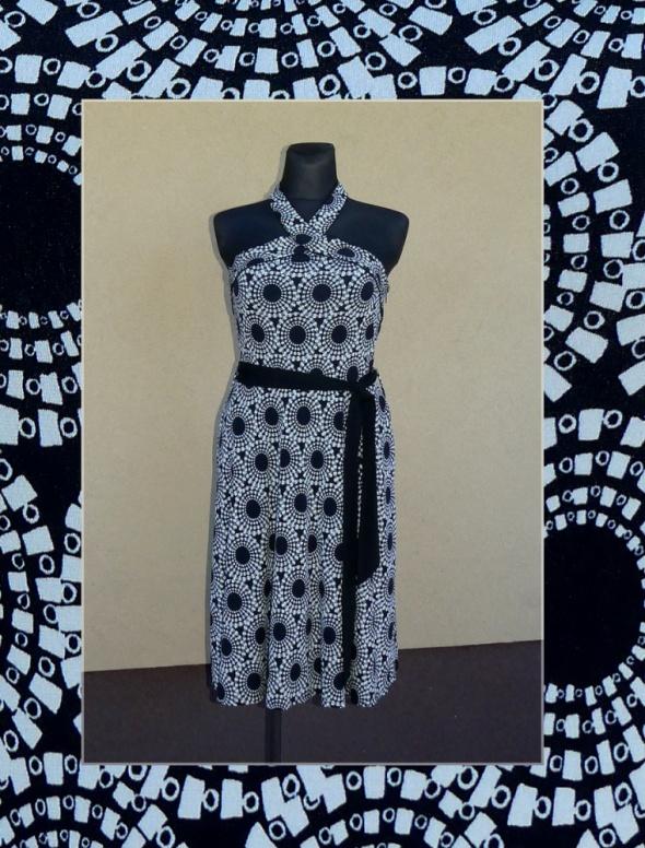 Suknie i sukienki Next czarno kremowa sukienka koktajlowa rozm 44