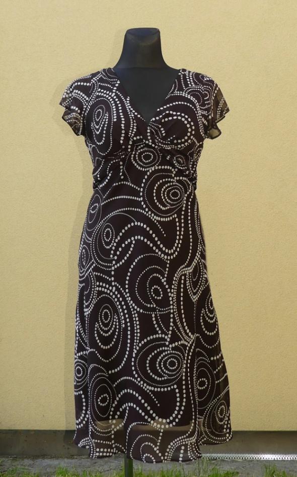Suknie i sukienki Bm sukienka koktajlowa ciemny brąz groszki rozm 42 44