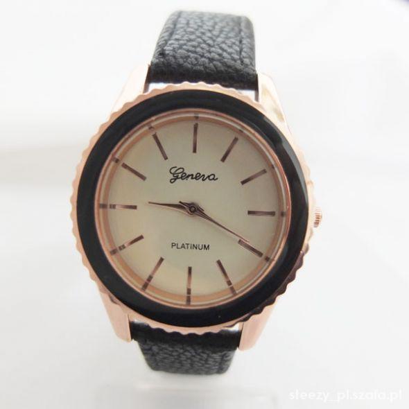 Zegarek złoty Geneva czarny skórzany pasek