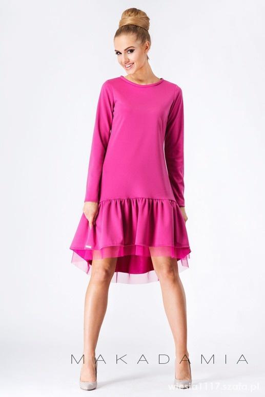 Suknie i sukienki SUKIENKA RÓŻOWA Z TIULEM ROZ 40