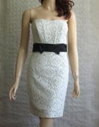 H&M biało szara koronkowa sukienka 38