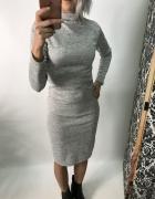 Klasyczna ołówkowa szary melanż sukienka za kolano dopasowana