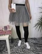 czarno biała siateczka pianka spódniczka zip xs s