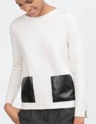 Zara super asymetryczny sweter skórkowe kieszenie