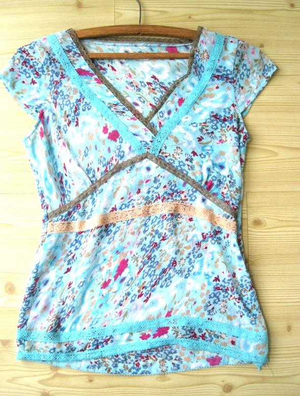 Bluzki niebieska bluzka mgiełka kwiaty Vila s 36
