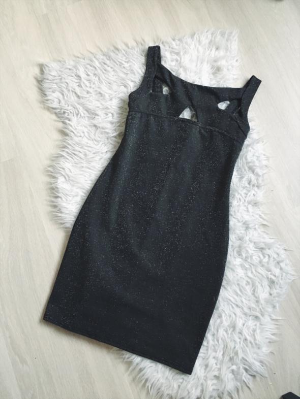 imprezowa sukienka khaki brokatowa wycięcia...