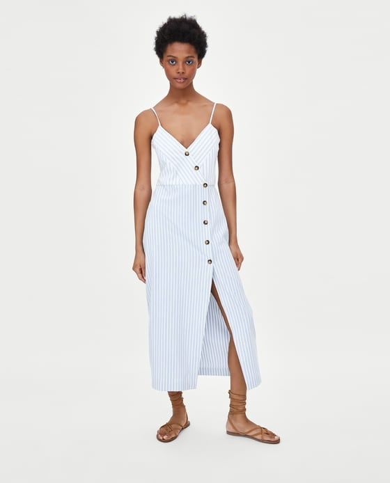 sukienka w paski z guzikami zara...