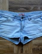 Krótkie szorty biodrówki jasny jeans 38 40