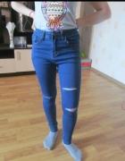 Jeansy niebieskie z wysokim stanem rozmiar 30