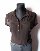 Brązowa koszula na krótki rękaw mgiełka r około L