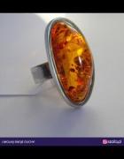 Jantar srebro 925 pierścień bursztyn