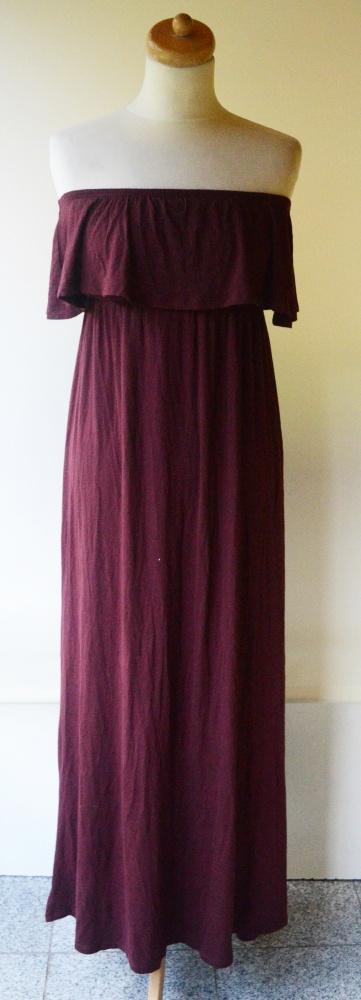 Suknie i sukienki Sukienka Falbanka Maxi Long Bordowa Gina Tricot S 36 Dekolt