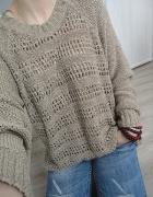 kawowy luźny oversize sweter azurek hot S M L