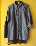 oryginalna jeansowa koszula z transparentnym tyłem