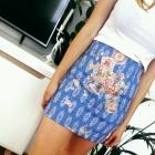 śliczna niebieska spódnica mini Zara wzorki