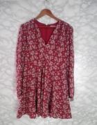 Glamorous nowa bordowa sukienka kloszowana w kwiaty floral pase...