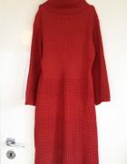 Ichi Sukienka golf ceglasta ceglasty S M L 36 38 40 unikat super jakość ciepły ciepła gruby splot