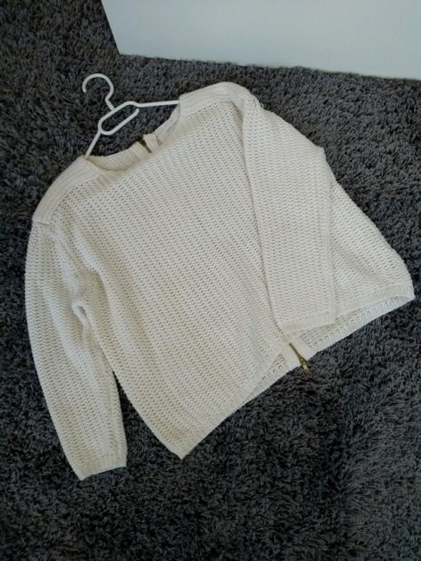Sweter pleciony biały ZARA zamek