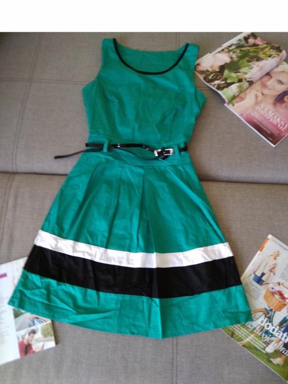 NOWA zielona sukienka pas biało czarny z paskiem S 36